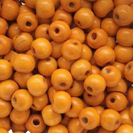 Houten kraal oranje - ca. 9mm