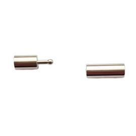 Zilverkleurig pin-hole slot voor 3mm leer/koord