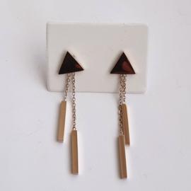 Oorhangers triangle met staafjes - stainless steel roségoud