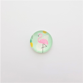 Glascabochon flamingo mint/roze