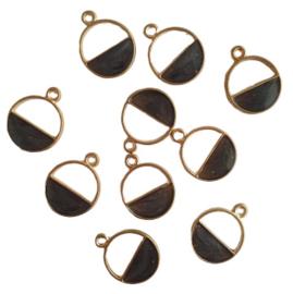 Bedel half open cirkel zwart/goud