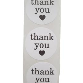 Sticker thank you wit/zwart