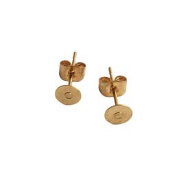Set goudkleurige oorstekers met metalen achterkantje - 5mm