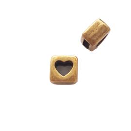 DQ Schuifkraal open hart brons - 7mm