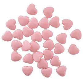 Acryl kraal hart lichtroze