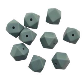 Siliconen kraal hexagon donkergrijs - ca. 14mm