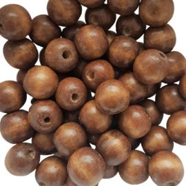 Houten kraal naturel bruin - ca. 15mm