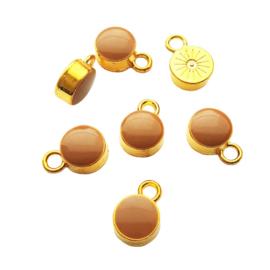 Metalen bedeltje goud bruin - 10x14mm