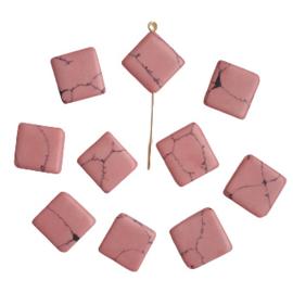 Keramische kraal ruit roze
