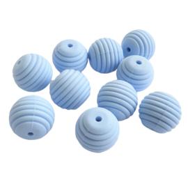 Siliconen kraal ribbel pastelblauw - ca. 15mm