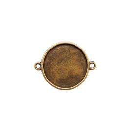 Setting / tussenstuk brons dubbelzijdig voor 20mm cabochon