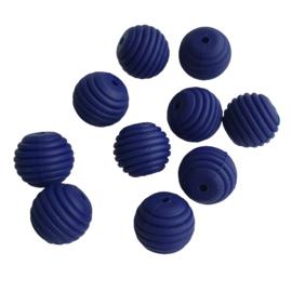 Siliconen kraal ribbel marineblauw - ca. 15mm