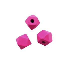 Houten kraal hexagon fuchsia - 12mm