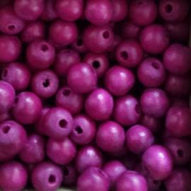 Houten kraaltje fuchsia paars - ca. 6mm