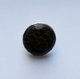 Drukknoop imitatie slangenleer bruin/zwart
