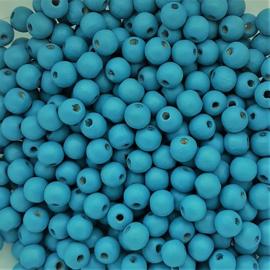 Houten kraaltje lichtblauw - ca. 6mm