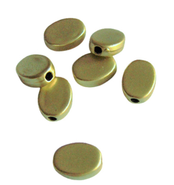 Kunststof platte ovaal geelgoud  - 7x11mm