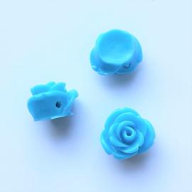 Roosje aquablauw - ca. 7x11mm