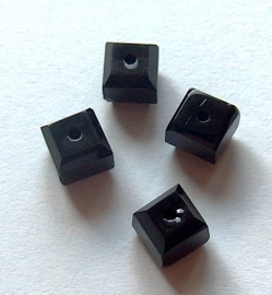 Facet kubus zwart - ca. 6x6mm