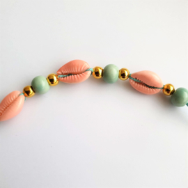 Schelp kauri kraal / tussenstuk / hanger peach rose