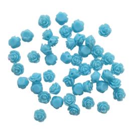 Resin roosje mini lichtblauw