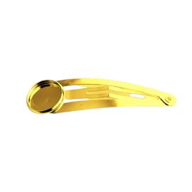 Haarschuifje met setting voor cabochon 12mm goud