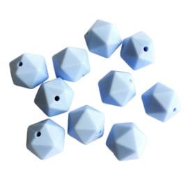 Siliconen kraal geometrisch pastelblauw - ca. 15mm