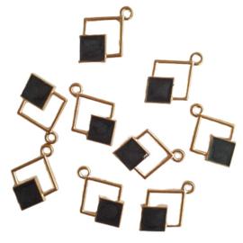 Hanger dubbele ruit goud/zwart