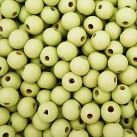 Houten kraal licht pistache groen - ca. 8mm