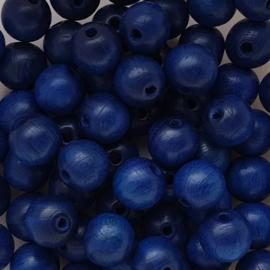 Houten kraal delfts blauw - ca. 10mm