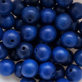 Houten kraal koningsblauw - 16mm