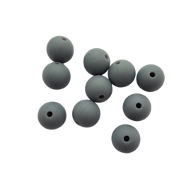 Siliconen kraal rond donkergrijs - 12mm