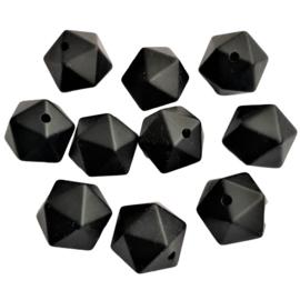 Siliconen kraal geometrisch zwart - ca. 15mm