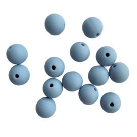 Siliconen kraal rond poederblauw - 12mm