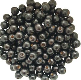 Houten kraal zwart - ca. 10mm