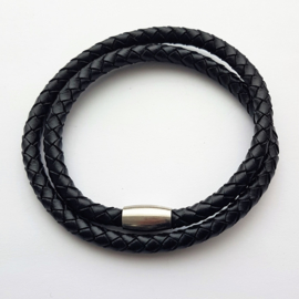 Leren wikkelarmband zwart - ca. 42cm lang