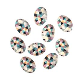 Cabochon geometrisch patroon multicolor