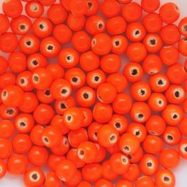 Houten kraaltje neon oranje - ca. 6mm