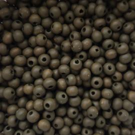 Houten kraaltje donker legergroen - ca. 6mm