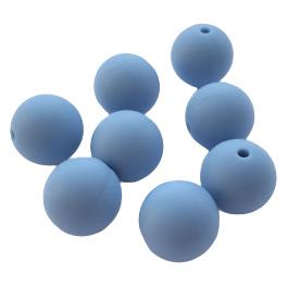 Siliconen kraal rond poederblauw - ca. 15mm