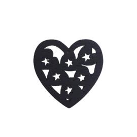 Houten hanger hart zwart