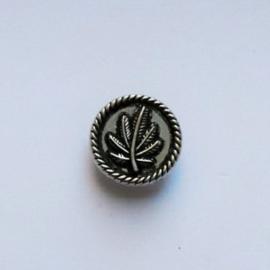 Drukknoop Leaf zilver metaal