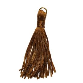 Kwastje camel met goudkleurig ringetje - ca. 60mm