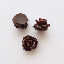 Roosje chocoladebruin - ca. 11mm