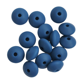 Siliconen disc donkerblauw - ca. 12x5mm