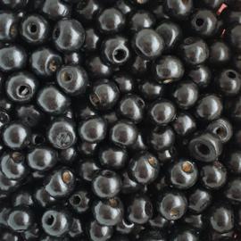 Houten kraal zwart - ca. 8mm
