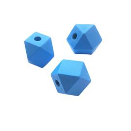 Houten kraal hexagon blauw - 15mm