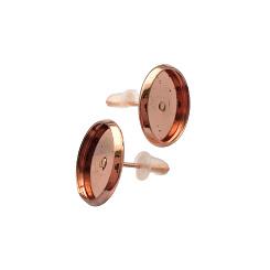 Oorstekers rosé goud met setting voor cabochons 12mm