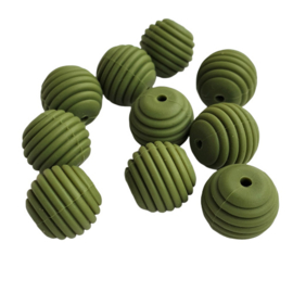 Siliconen kraal ribbel legergroen - ca. 15mm