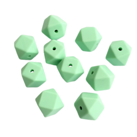 Siliconen kraal hexagon mint - ca. 14mm